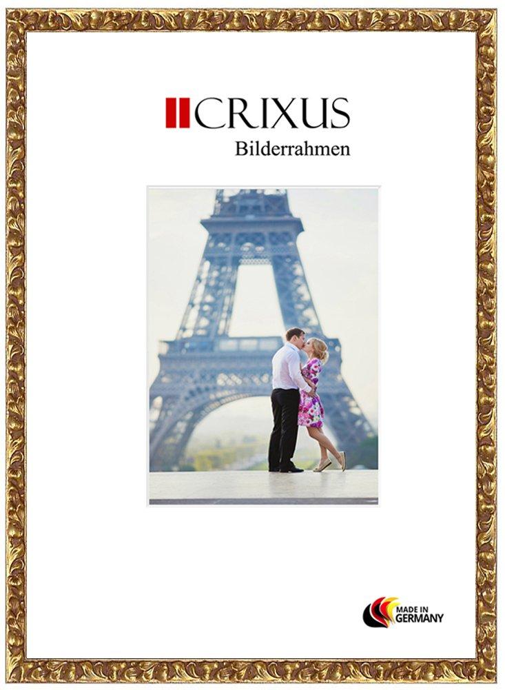 Crixus29 Echtholz Echtholz Echtholz Bilderrahmen für 50 x 70 cm Bilder, Farbe  Gold, Massivholz Rahmen in Maßanfertigung mit entspiegeltem Acrylglas und MDF Rückwand, Rahmen Breite  29mm, Aussenmaß  54,8 x 74,8 cm d78894