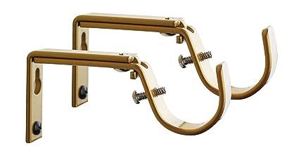Meriville Set Of 2 Gold Curtain Drapery Rod Bracket For 1 Inch Adjustable