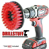 cleaning shower - Red Drill Brush,Power Scrubbing Brush Drill Attachment for Cleaning Showers, Tubs, Bathrooms, Tile, Grout, Carpet, Tires, Boats (Stiff) by Drillstuff