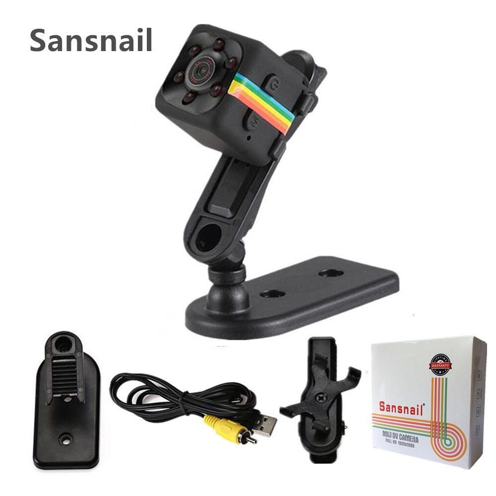 Sansnail HD Mini Camera SQ11 - Portable Motion Detection Mini cam - Night Vision - for Drone, Car, Home & Office