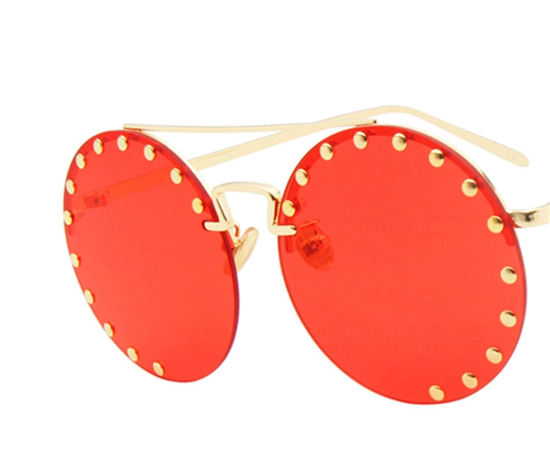Amazon.com: Cheryl Bull moda rojo redondo anteojos de sol ...