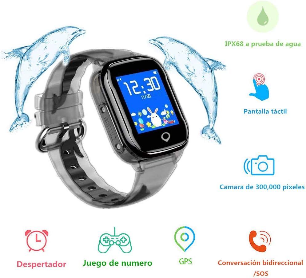 MUSSON Smartwatch Niños, Reloj Inteligente Niños, IPX68 Impermeable GPS Rastreador SIM Phone 1.44 Inch LCD Pantalla Táctil Móvil, Llamada SOS Cámara Despertador Anti-Lost CE49