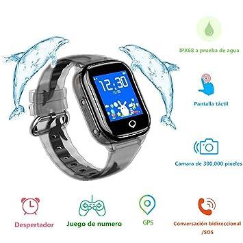 MUSSON Reloj Inteligente Niños, SmartWatch IPX68 Impermeable GPS Rastreador SIM Phone 1.44 Inch LCD Pantalla Táctil Móvil, Llamada SOS Cámara ...