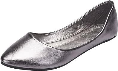ANUFER Mujer Bailarina Dedo del Pie Puntiagudo Cuero de Microfibra Ponerse Plano Bombas de Vestir Zapatos
