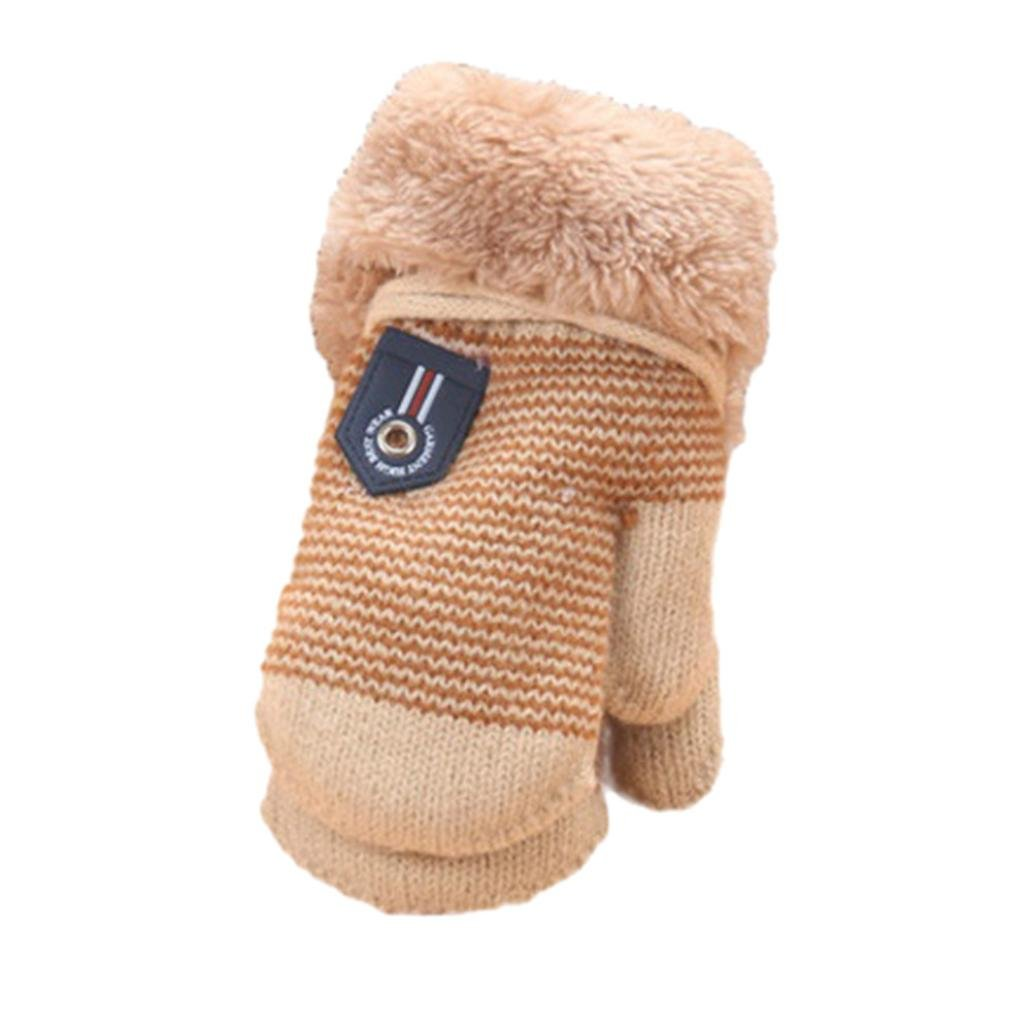 Minshao Infant Baby Girls Boys Cute Cartoon Thicken Winter Warm Gloves For 1-4 Years old