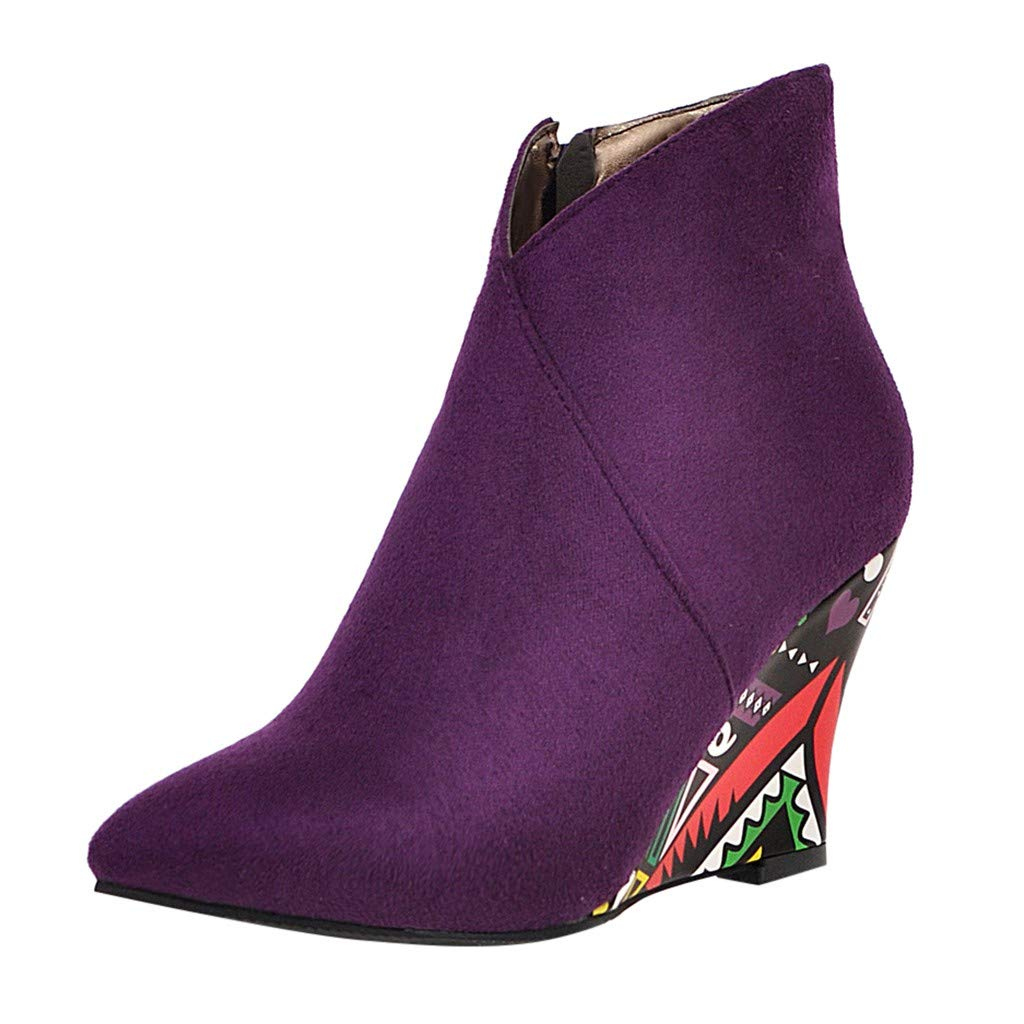 Kauneus Womens Wedges Ankle Boots Fancy Wedge Heels Pointed Toe Side Zipper Suede Booties Fashion Boot Purple by Kauneus Fashion Shoes