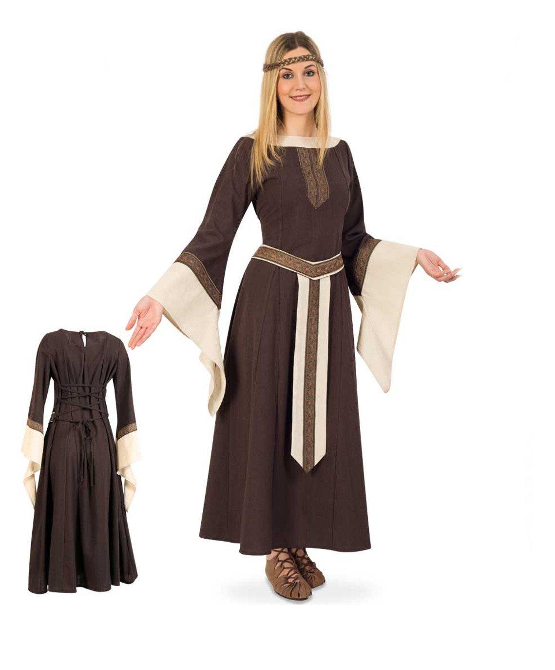 KarnevalsTeufel Edelfrau-Mittelalter braun beige langarmiges langes Kleid mit Gürtelblende (XL)