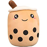 Cartoon Bubble Tea Plush Pillow, Giant Boba Bubble Tea Plush Toy Soft Doll Stuffed Tea Cup Pillow with Suction Tubes…