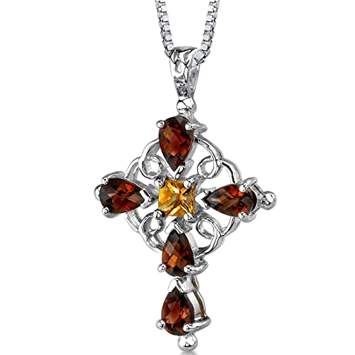 Garnet and Citrine Cross Pendant Necklace Sterling Silver Rhodium Nickel Finish 3.00 Carats