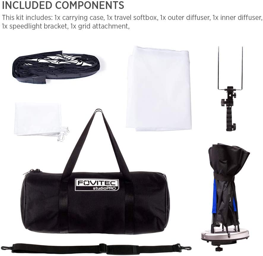Durable Nylon Lightweight 1x 24 inch Photography Travel Hexagon Softbox - Hand Grip Carry Bag Included Easy Set-up Fovitec