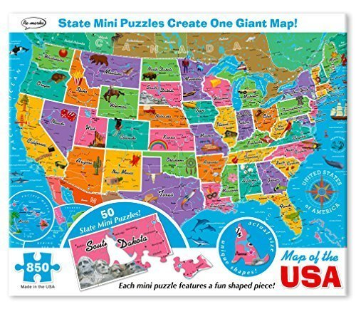 - Re-marks Map of the USA 850 Piece Puzzle with Mini Poster