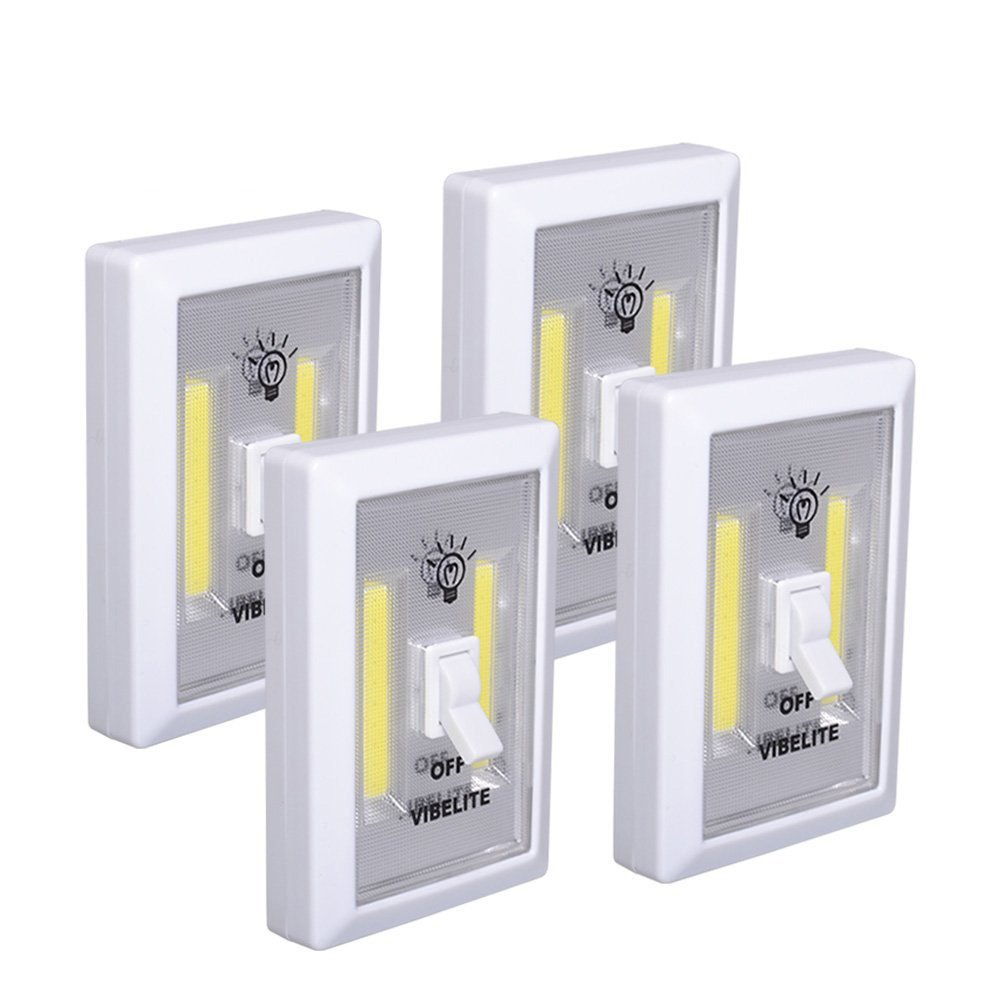 VIBELITE Closet Light, Battery Operated, Tap Light, Touch, Night, Utility, Wall Wireless Mount Under Cabinet, Shelf, Shed, Kitchen, Garage, Attic, RV, DIY(4-pack) by VIBELITE