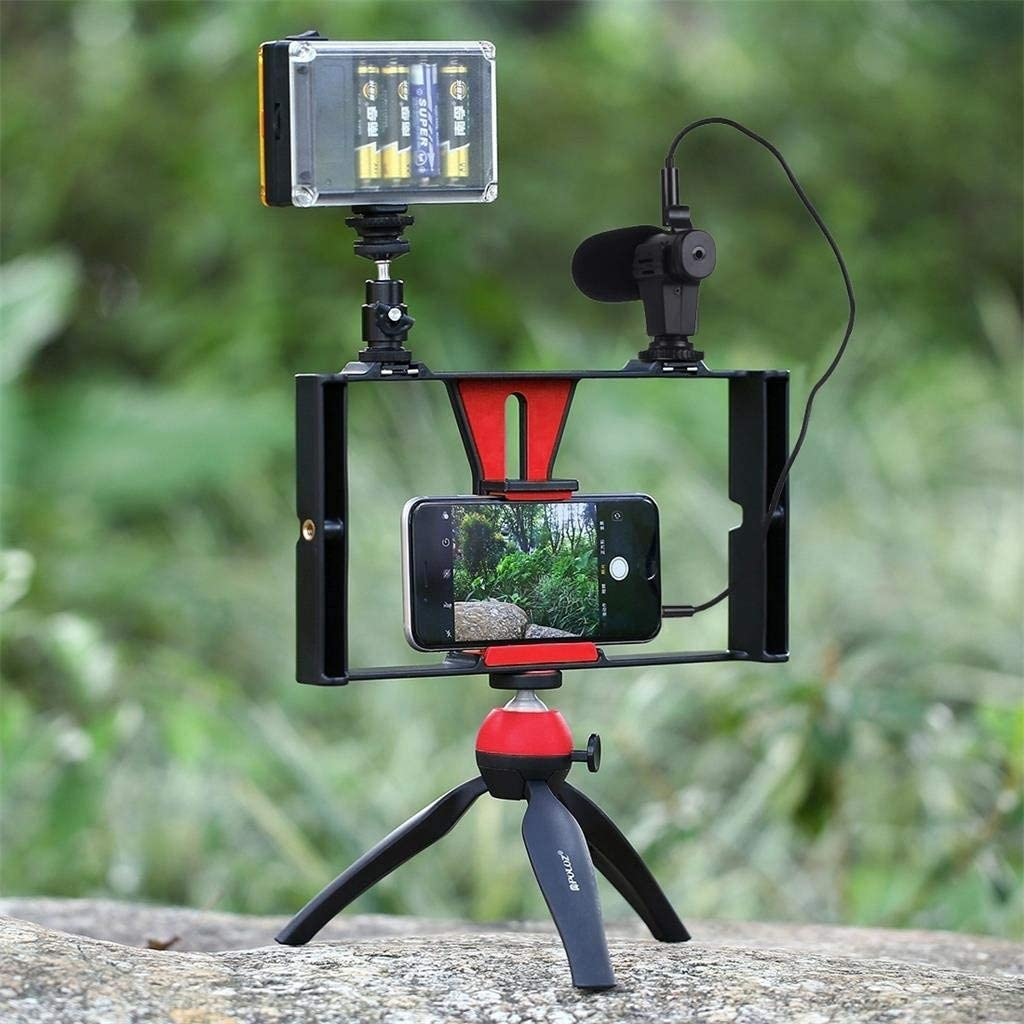 Black, One Size RUIVE Smartphone Video Rig Phone Video Stabilizer Grip Tripod Mount with Microphone