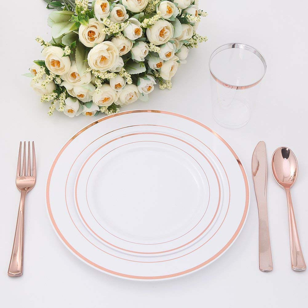 H3 Innovations-200pc Rose Gold Plastic Plates, Rose Gold Silverware, Rose Gold Plates, Rose Gold Cups, Rose Gold Napkins, Rose Gold Straws, Rose Gold Disposable Dinnerware by H3 Innovations (Image #6)
