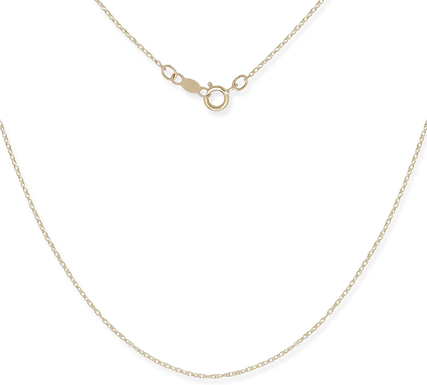 Amazon Com Jewelryweb 14k Gold Women S 16 22 Inch Carded Rope Chain Necklace Yellow Or White 16 White Gold Jewelry