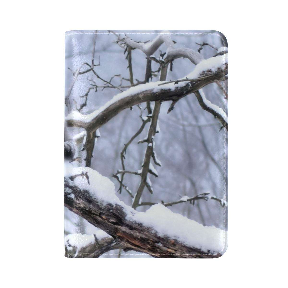 Cat Branch Tree Snow Winter Leather Passport Holder Cover Case Travel One Pocket