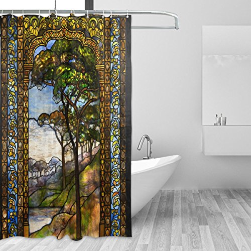 - LORVIES Stained Glass Windows Shower Curtain Set Polyester Fabric Water Repellant Bathroom Shower Curtain Set Home Decoration with Hooks, 72W X 72L Inches