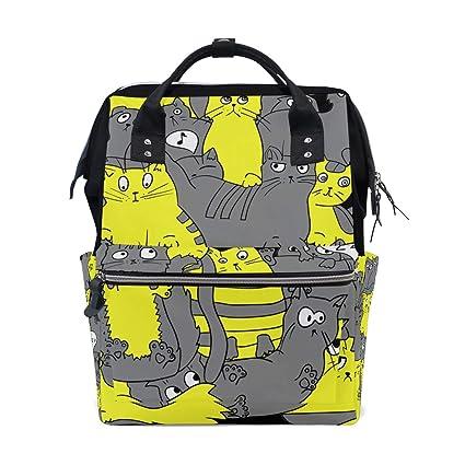 Alinlo - Mochila para cambiar pañales, diseño de gato con dibujos animados y pañales,
