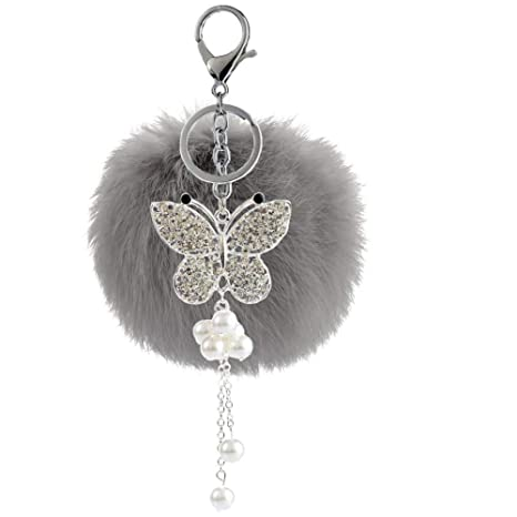 Outflower Llavero de Mujer, Accesorios de Ropa Pompones Rhinestone Mariposa Llavero Colgante Bolsa Elegante Ornamentos Parejas Regalos, 12 x 8 cm