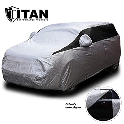 Titan Lightweight Car Cover. Compact SUV. Fits Toyota RAV4, Honda CR-V, Nissan Rogue, and More. Waterproof Cover Measures 187 Inches, Includes a Cable and Lock and Driver-Side Door Zipper.: Automotive