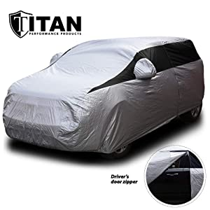 Titan Lightweight Car Cover | Compact SUV | Fits Toyota RAV4, Honda CR-V, Nissan Rogue, and More | Waterproof Cover Measures 187 Inches, Includes a Cable and Lock and Driver-Side Door Zipper