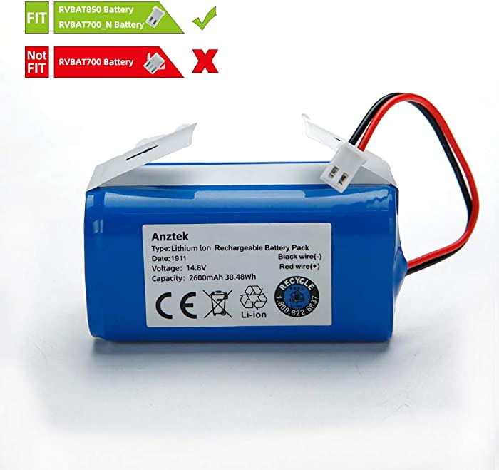 Replacement Battery Pack for Shark Ion Robot RVBAT850 Battery for RV700_N, RV720_N, RV725_N, RV761, RV850, RV850BRN, RV850C, RV850WV, RV851WV, RV871, RV871C 2 Prong 14.4V 2600mAh