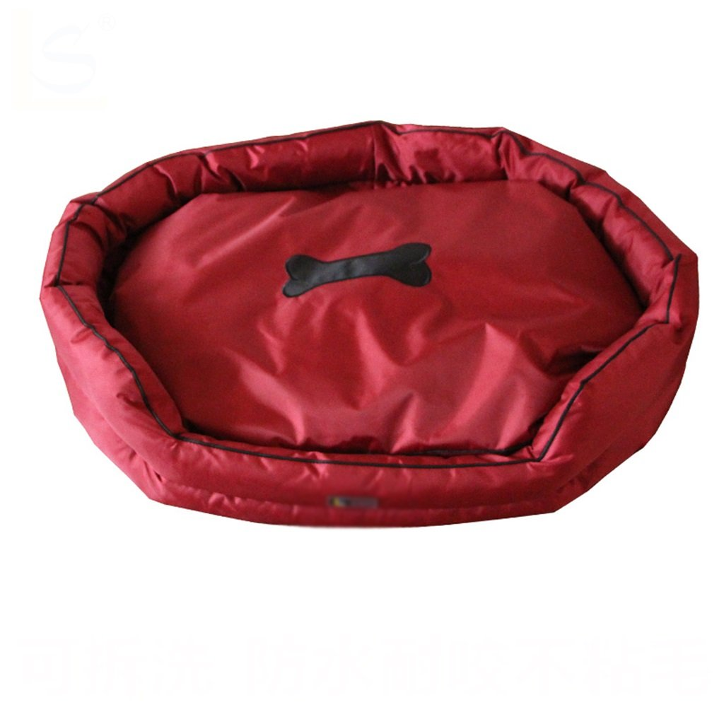 Red 100cmSummer pet bed removable cleaning Oxford dog dog cave does not sticky cat nest ( color   Brown , Size   100cm )