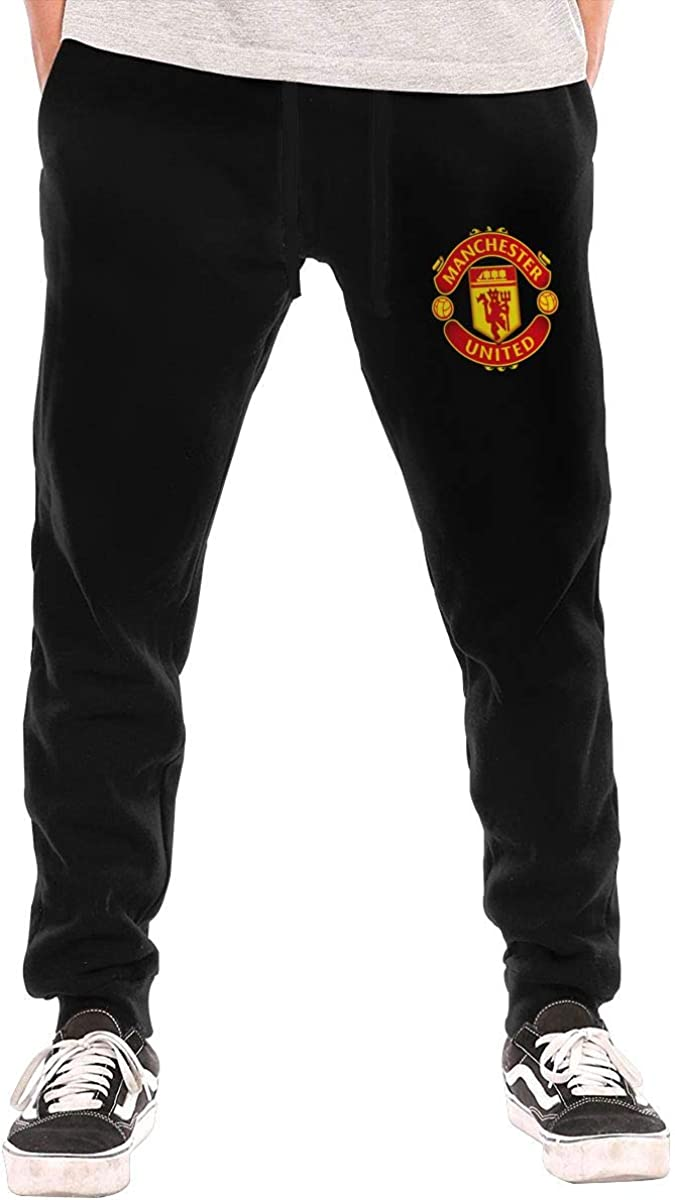 PCOEJ8 Manchester United Sweatpants Mens Retro Basic with Pockets Sweatpants for Workout,Gym,Running