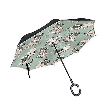MAILIM - Paraguas Reversible Plegable con patrón de Pug para Perros, Paraguas invertido, Resistente