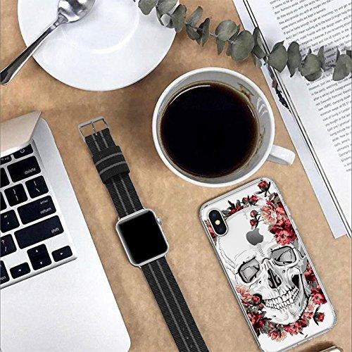 MOSNOVO Funda para Apple iPhone X 5.8 Carcasa Case Bumper con Shock- Absorción y Anti-Arañazos Borrar Espalda (Flower Skull) Floral Skull