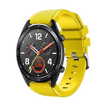 DIPOLA Reemplazo de Correa de muñeca de Reloj de Silicona para Huawei Watch GT Smart Watch 22mm_Amarillo