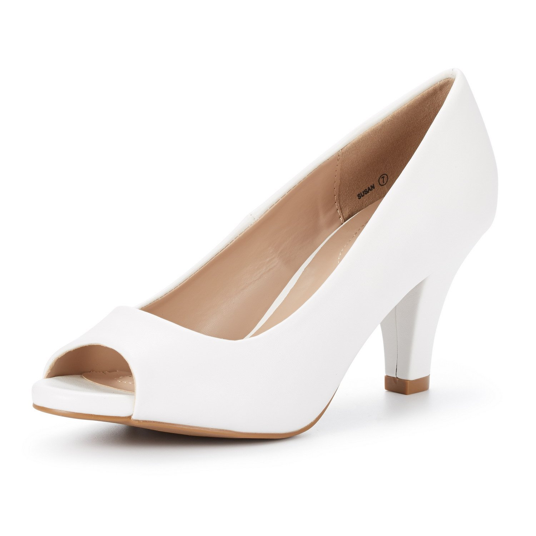 DREAM PAIRS Women's Susan White PU Fashion Stilettos Peep Toe Pumps Heels Shoes Size 9.5 B(M) US