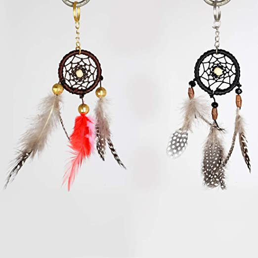 Mini Dream Catcher Keychain Feather Beads Key Ring for Bag Hanging Ornament