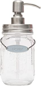 KreaSHen Mason Jar Soap Dispenser (Brushed Nickel) with Soap/Lotion Label Tag