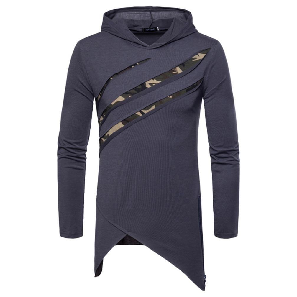 VIASA Fashion Muscle Men's Pure Color Camouflage Stitching Hoodie Long Sleeve Shirt Top Blouse (M, Dark Gray)