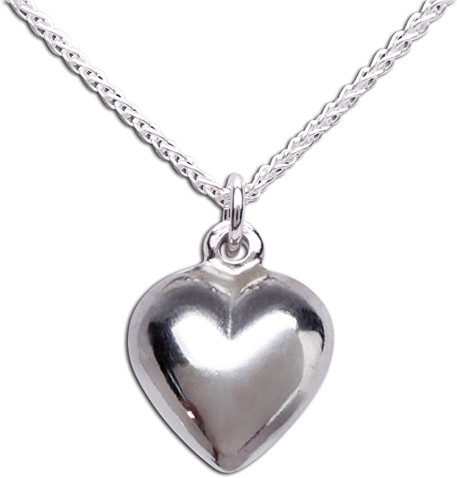 Baby or Childrens Sterling Silver Bracelet with Puff Heart Charm for Girls