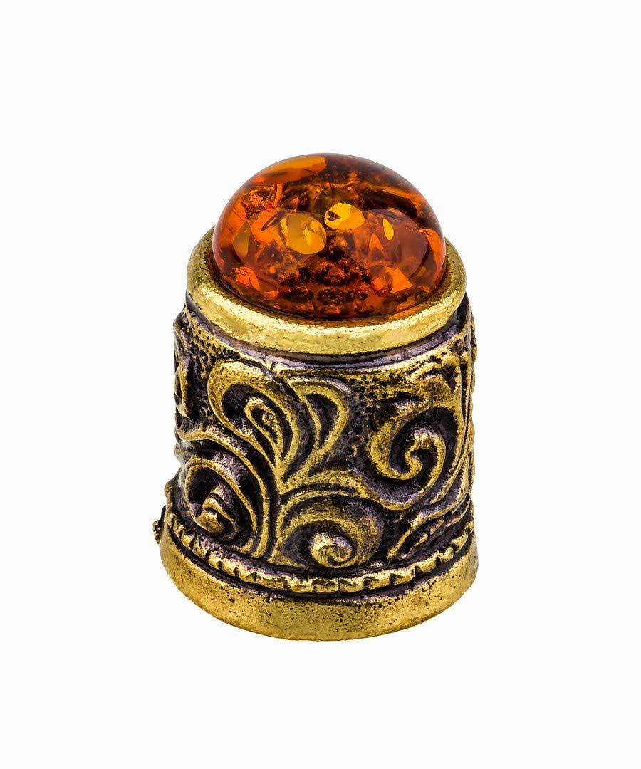 Amber and Brass Collectible Thimble Decorative Souvenir Thimbles. Antique and Vintage Designs from Kaliningrad, Russia.Packed in a Beautiful Siberian Birch Bark Gift Box(Random Selection) by Brass and Amber Art
