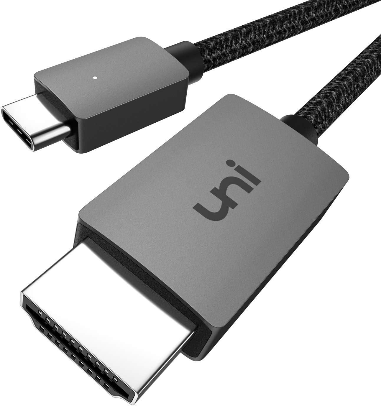 uni Cable USB C a HDMI, Cable USB Tipo C a HDMI (Compatible con Thunderbolt 3) hasta 4K, Compatible con iPad Pro 2018, MacBook, Samsung S20, Surface Pro 7, Huawei p40, Mate 30 y más - 1.8m