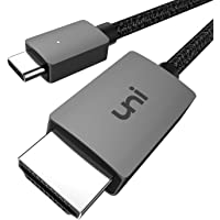 USB C to HDMI Cable, uni USB Type C to HDMI Cable[Thunderbolt 3 Compatible] for Working from Home, 4K, Compatible for iPad Pro 2018, MacBook, Surface Pro 7, Galaxy S20/S10, XPS 13/15 and More -6ft