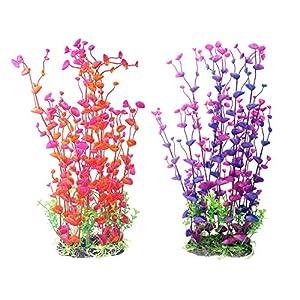 2-Pack Aquarium Decor Fish Tank Decoration Ornament Artificial Plastic Red/Purple 16-inch Tall 92