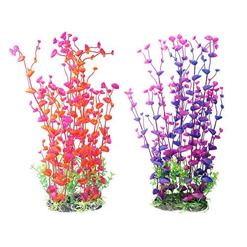 2-Pack Aquarium Decor Fish Tank Decoration Ornament Artificial Plastic Red/Purple 16-inch Tall by CNZ