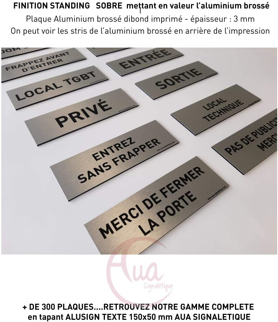Local technique 150x50 mm Plaque de porte Aluminium bross/é imprim/é AluSign Texte Double Face adh/ésif au dos AUA SIGNALETIQUE
