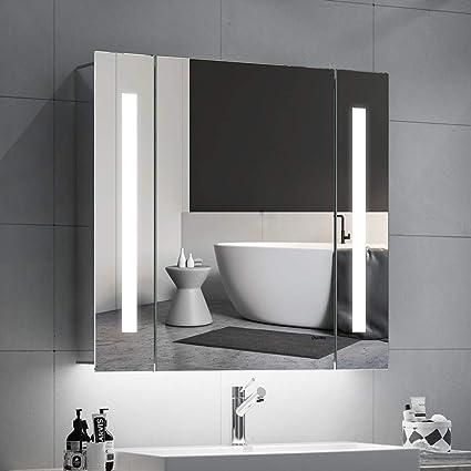 Quavikey LED Beleuchtung Wandschrank für Bad Spiegelschrank  Badezimmerschrank Wandspiegel Aluminium badezimmerspiegel mit  hinterleuchtet Rasier ...