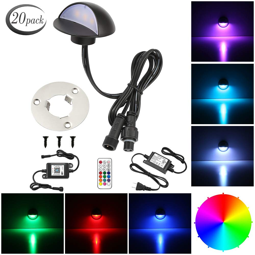LED Deck Lighting Kits, FVTLED 20pcs WiFi Controller Φ1.97'' Low Voltage LED Deck Lighting RGB Recessed Light Work with Alexa Google Home Wireless Smart Phone RGB Lamp