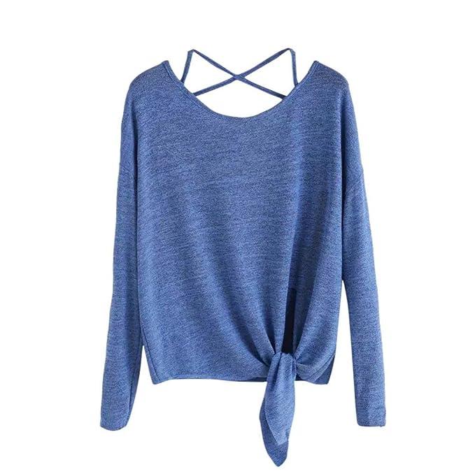 Longra Damen Langarm T-Shirt Rundhals Ausschnitt Shirt Lose Bluse Hemd  Pullover Oversize Sweatshirt Oberteil 924ade9c45