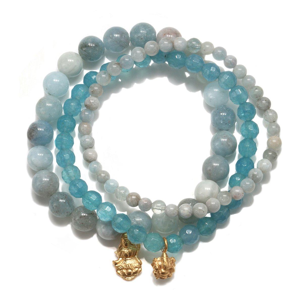 Satya Jewelry Womens Aquamarine Gold Ganesha Lakshmi Stretch Bracelet Set, Blue, One Size