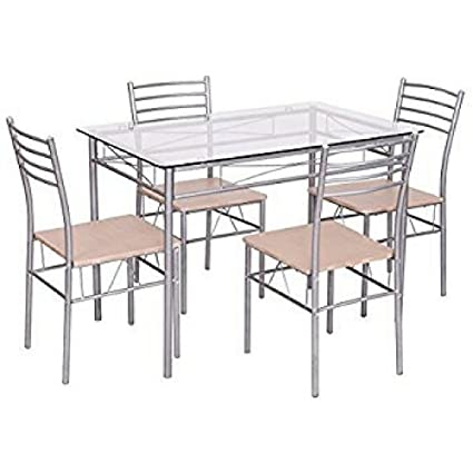 946d6c0b0d Glass Dinning Table Set of 5 Stainless Steel Metal 4 Chairs Modern Heavy  Duty Clear Silver
