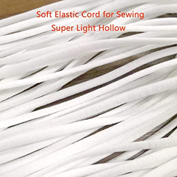 DIY Clothes Cuffs Rope(White) 4mm Elastic Band 120 Yard Flat Ear Elastic Cord Soft Stretchy Strap Earloop String 1//6 Inch for Sewing Hats