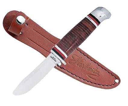 Cuchillo para niños Cuchillo inoxidable mango de piel marrón ...