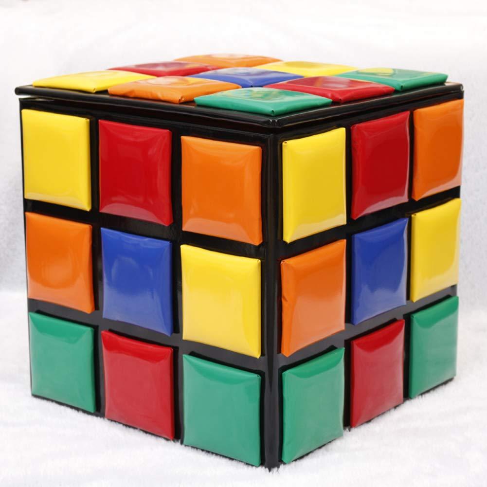 QTQZDD Sgabello con Contenitore Creativo,Legno massello di cubo di Rubik Scarpe deposito Bambini banco Piccolo Sgabello Sgabello Divano tavolino casa Pedale-B 16.5x16.5x16.5in